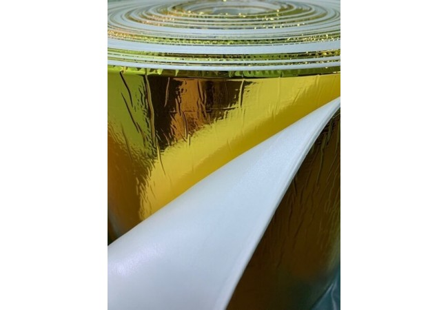 Изолон 2 мм металлизированный золотой (белое основание), ширина 1 метр