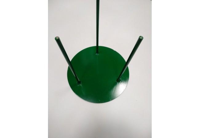 Стойка металическая: диаметр-30 см, высота-30 см, 3 штыря, зеленая